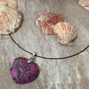 Jewelry - Beautiful Purple Ripple Stone Heart Pendant